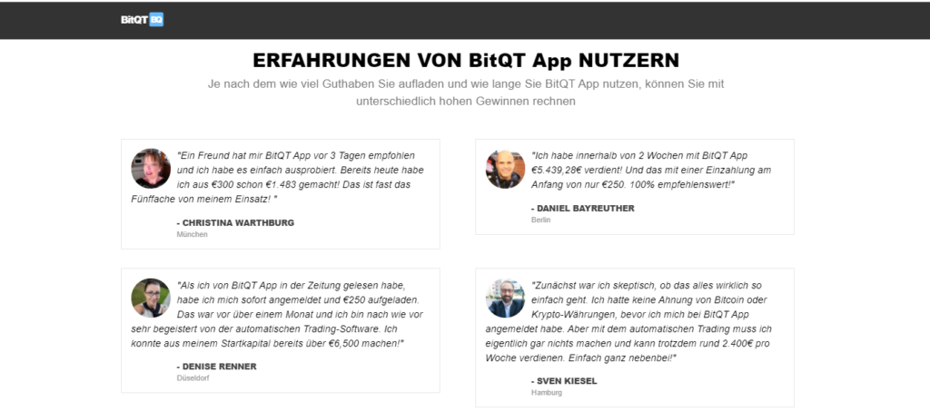 BitQT Erfahrungen Germany- testimonies