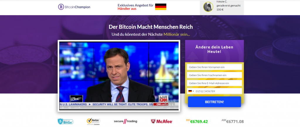 Bitcoin Champion Homepage- German
